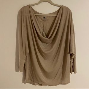 French Connection wheat draped blouse XL